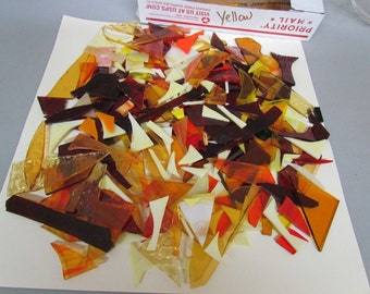 SUNSHINE Color hues Mixed Scrap Glass from stained Glass Shop for Mosaic work or art project in glass 1.5 Lbs