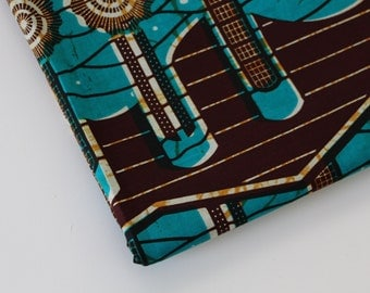 African Wax Print Fabric / Abstract Batik Fabric / Sold By The Half Yard / 100% cotton