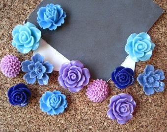 Thumbtack Set, 12 pc Flower Pushpins, Blues and Purples, Office Supply, Bulletin Board Thumbtacks, Wedding Decor, Housewarming Gift