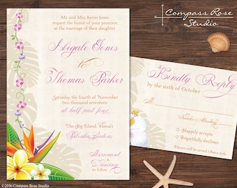 Hawaiian Wedding Invitation, Tropical Invitations, Beach Invites, Hawaii, Elopement Announcement, Elope, Reception, Party, Destination