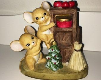 Vintage Christmas Ceramic Mice Figurine - mouse figurine, Ceramic mischievous   mice statue - Christmas decorations