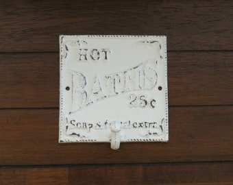 Bathroom Wall Hook Sign/ Shabby Chic Bath Sign with Hook/ Antique White or Pick Your Color /Cottage Style bath hook signage