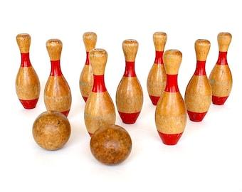 Skittles Game - Vintage Game - Bowling Game - 9 Pin Bowling - Wooden Bowling Pins - Vintage Toy - Game Room Decor - Fun Office Decor -