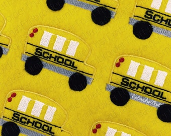 UNCUT RTS Back to School Bus felt applique embellishment hair bow center feltie(4)