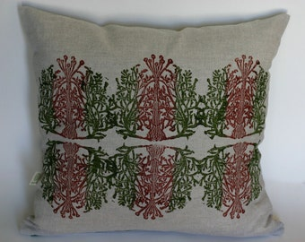 "Lino block printed pillow cover ""Lichen"""