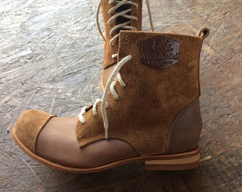 Brown-Brown Leather Boots for Men & Women - All Leather Soles - All Leather Soles - Casual Flat Leather Boots, Handmade by WalkaholicS
