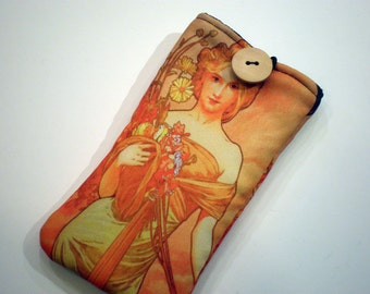 Cell phone case - Alphonse Mucha art - Iphone case - Fabric smartphone case - Samsung Galaxy sleeve - Art Nouveau - Smartphone sleeve