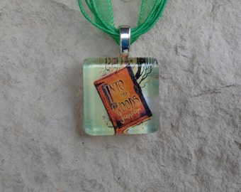 Broadway Musical Into The Woods Jr. Glass Pendant and Ribbon Necklace
