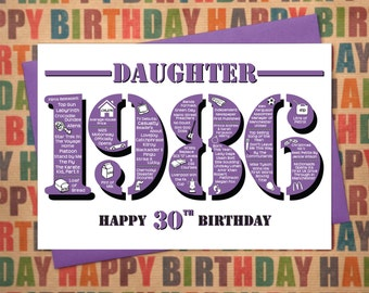 Happy 30th Birthday Daughter Card - Born In 1986 British Facts A5 Greetings Card Purple Womens