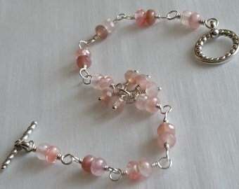 A Rose Is A Rose Is A Rose -- Picasso Rose Czech Glass Bracelet