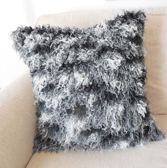 Black and white african mongolian faux fur pillow by for White faux fur pillow