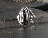 Sterling silver goth ring boho gypsy vampire Hematite black silver