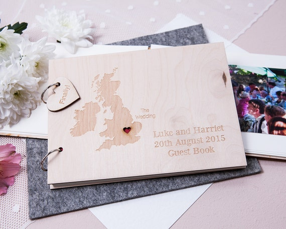 ... Wedding Guest Book - Gift for Couple - Travel Gift Idea - Rustic
