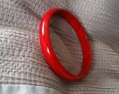 Vintage Lucite Bangle, Vintage 'Spacer' Bracelet, Deep Red, Vintage Marbled Lucite