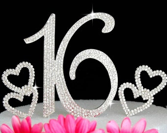 Sweet Sixteen 16th Birthday Crystal Cake Topper Silver Bling Cake Topper and 2 Hearts Cake Picks