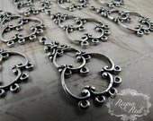 Silvertone Filigree Chandelier Findings, chandelier findings, earring findings, silver findings, filigree chandelier - reynaredsupplies
