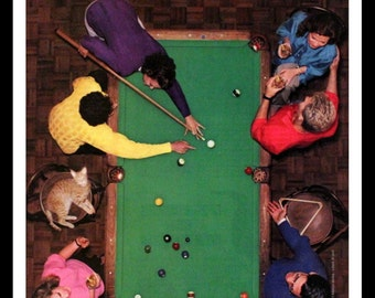 1987 Seagramu0027s 7 Crown Blended Whiskey Ad With Pool Table   Wall Art   Home  Decor