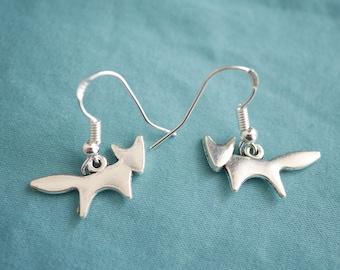 Silver fox earrings hooks 925 Sterling