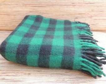 Vintage Tartan Wool Blue and Green Plaid Throw/Blanket