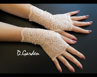 Elegant Lolita Gothic Stylish Stretchy Light Orange Flower Lace Victorian Sexy Fingerless Gloves / Arm Warmers - ORG001