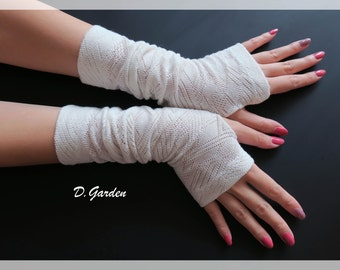 White Cotton Strechy Knitted Soft Fingerless Arm Warmers Great For Party and Prom - WHT001