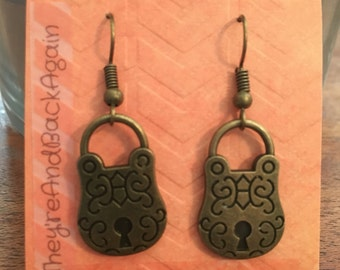Bronze Lock Earrings