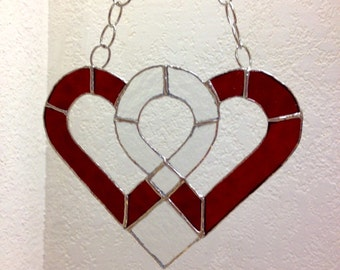 Red and Clear Stained Glass Heart
