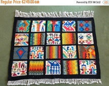 ON SALE 1970s handmade tunisian wool rug or wall hanging ( 51.1 x 57 in )