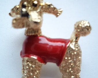 Vintage Signed Small Goldtone Gerrys Poodle wearing Red Jacket Brooch/Pin