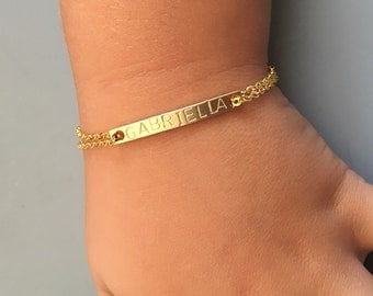Kids ID Bracelet//Children's Gold Name Bracelet//Reverse Stamping//Add Telephone Number//Kids Gold Bracelet//Flower Girl Gift//Kids Jewelry
