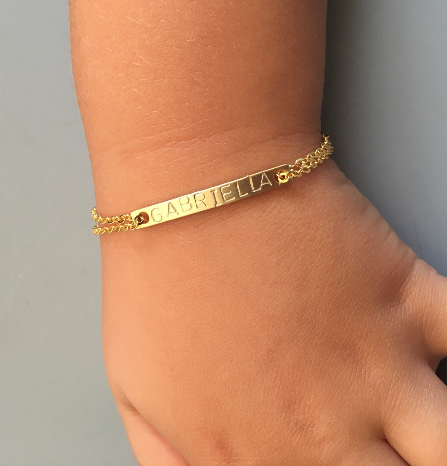 Kids ID Bracelet Children s Gold Name Bracelet Reverse