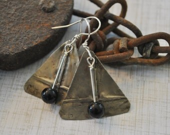 Silver nickel and black earrings, fold formed metal earrings, rustic earrings, artisan earrings