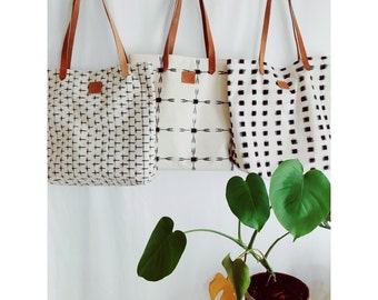 Natural Hand Woven Tote Bag Hand Dyed Ikat with Natural Veg Tan Leather Straps - Blocks x Crosses x Arrows COLLECTION