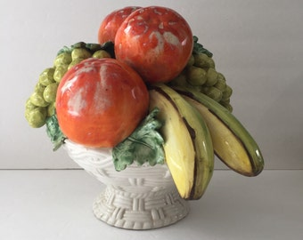 Vintage Mid Century Ceramic Fruit Centerpiece, Made in Italy for Jay Willfred