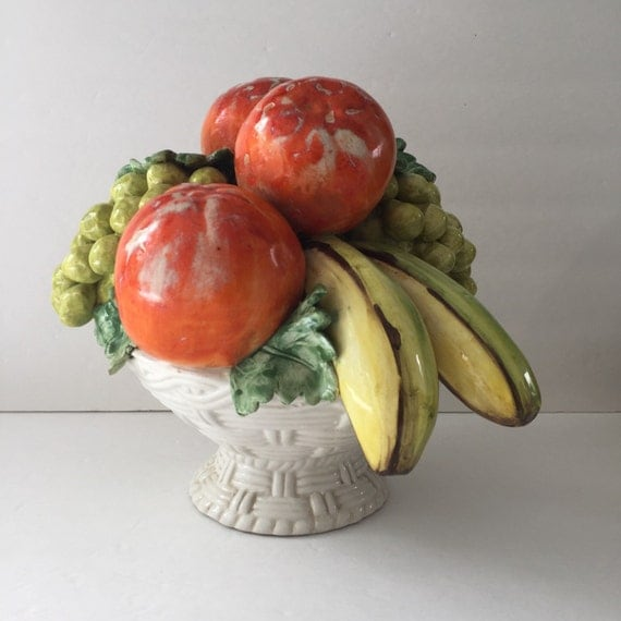 Vintage Mid Century Ceramic Fruit Centerpiece Made In Italy