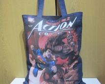 "Large Denim Tote Bag, Superman, Comics, Shoulder Bag, Handmade Bag, Shopping Bag, size W15"" x H18"", Gift Idea!"