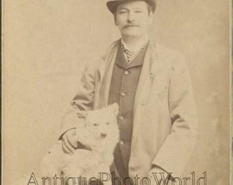 Hermann Winkelmann Germany opera singer with dog antique cabinet photo