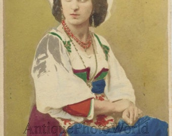 Italy peasant woman in ethnic costume antique hand tinted CDV photo