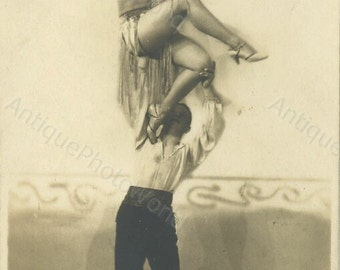 Couple dancing Art Deco costumes antique photo