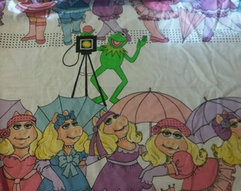 1980 Miss Piggy & Kermit Double Fitted Sheet