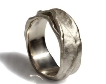 Silver men wedding band, thick men band, Brushed silver band, folded rustic band, satin finish, matte finish, unique men's wedding ring
