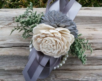 Sola flower corsage, wedding corsage, beaded bracelet corsage