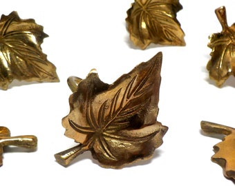 Vintage Napkin Rings, Leaf Leaves Napkin Rings, Brass Leaf Napkin Rings, Set of 6,  Cottage Chic, Farmhouse Decor