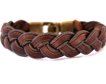 Mens Leather bracelet Braided, Mens jewelery, Rugged Bracelet, Rustic Bracelet, Gift for Him, Fathers Day Gift, Husband Gift, Mens Gift, Men