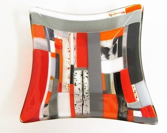 Quizzical Orange, Gray and Black Fused Glass Dish
