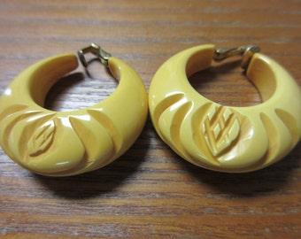 Bakelite Butterscotch Cilp On Earrings