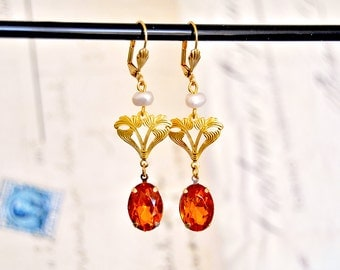 Vintage inspired earrings pearls and art nouveau filigree