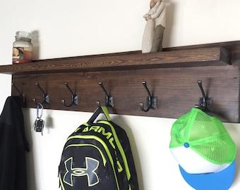 "48"" Rustic Coat Rack with Shelf"