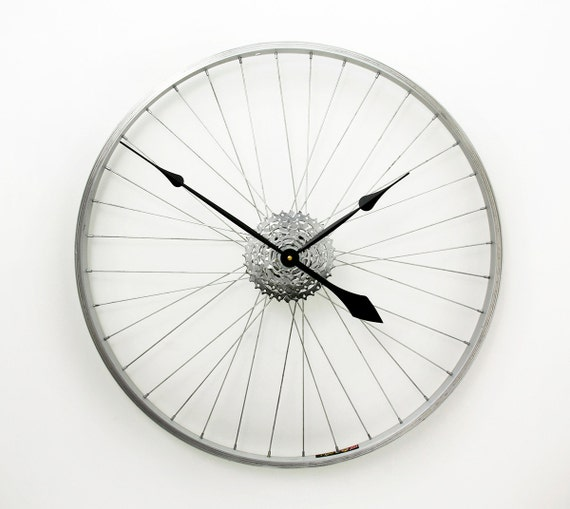 Large wall clock bicycle wheel clock bike wheel by for Bicycle wheel wall art