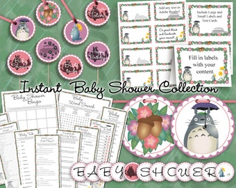 My Neighbor Totoro Instant Download Collection with Baby Shower Games, Labels, Cupcake Toppers/Favor Tags, & Banner